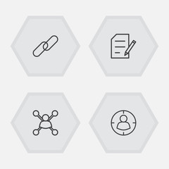 Set Of 4 Search Outline Icons Set.Collection Of Copyright, Stock Exchange, Targeting And Other Elements.