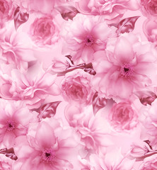 Pink cherry sakura flower floral digital art seamless pattern texture background