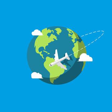 Plane. Earth. Vector.