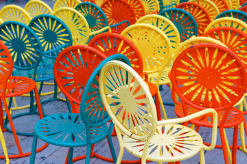 Colorful chairs at Memorial Union Terrace on the campus of the University of Wisconsin–Madison. The terrace a popular outdoor space overlooking Lake Mendota.