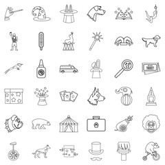 Forest icons set, outline style