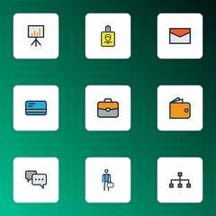 Job Colorful Outline Icons Set. Collection Of Bank Cash, Billboard Presentation, Portfolio And Other Elements. Also Includes Symbols Such As Conversation, Badge, Hierarchy.
