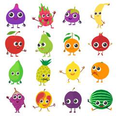 Smiling fruit icons set, cartoon style
