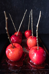red candy apple forest with dark background