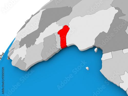 Map of Benin in red\