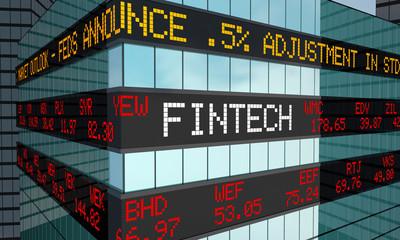 Fintech Stock Market Ticker Financial Services 3d Illustration