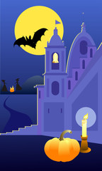 Vector image of church and dark sky with moon and the bat. Ideas for Halloween. Witches and fire in the background