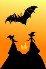 Witch sabbath and bat for halloween, vector illustration