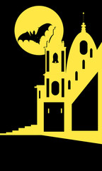 Vector image of church and dark sky with moon and the bat. Illustartion for hallowen