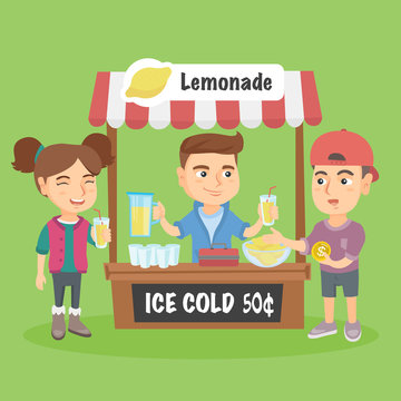 Little caucasian kid standing behind the stand and selling lemonade. Successful entrepreneur kid running his private business of selling lemonade. Vector cartoon illustration. Square layout.