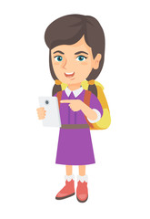 Caucasian girl with backpack using a cellphone. Little girl addicted to her cellphone. Smiling girl pointing at cellphone. Vector sketch cartoon illustration isolated on white background.