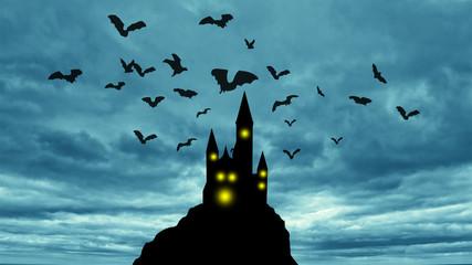 bats in the dark cloudy sky