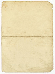 Blank old paper sheet with stains on white background