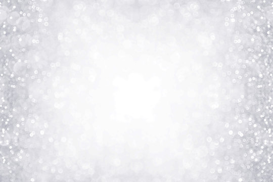 Elegant silver and white glitter sparkle confetti background border for happy birthday, anniversary, winter or Christmas background