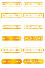 Golden Stamp Effect : Special Offer, Isolated on White