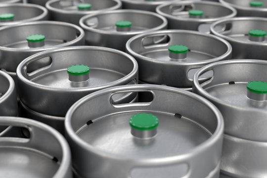 Metal beer kegs background