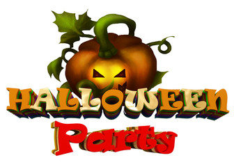 3d image text Halloween. Festive text from voluminous letters.
