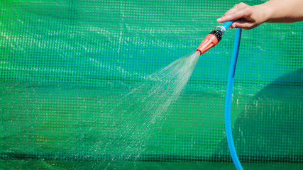 Working watering garden from hose