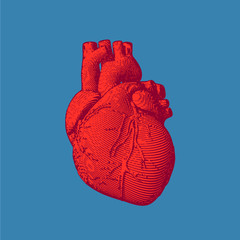 Engraving red human heart illustration on blue BG