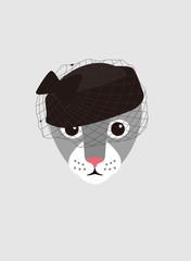 Portrait of cat, wearing something, like retro elegant lady cool style