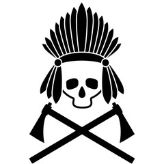 Skull Indian chief. Black and white picture. Icon. Vector Image.