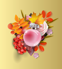 Beautiful realistic perfume bottle on the background of beautiful and autumn leaves and red berries. Beauty and cosmetics background. . Autumn background. Vector template