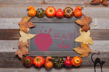 Autumn, pumpkins on wooden background. Halloween, Thanksgiving