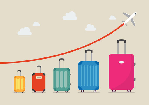 Graph increase in the number of tourists traveling
