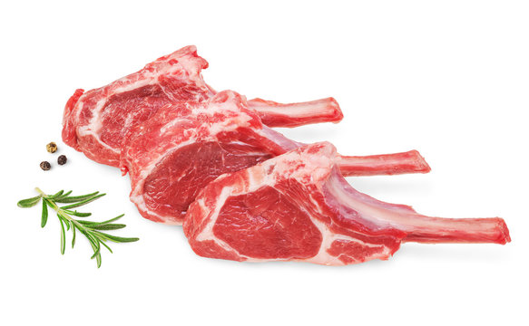 Fresh lamb cutlet  with  rosemary and pepper