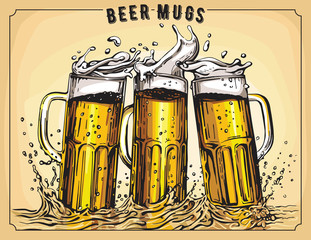 Vector image of three mugs of beer. Drinks with a lot of foam.