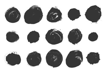 Vector brushes. Set of black circle ink