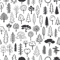 black and white doodle trees seamless pattern