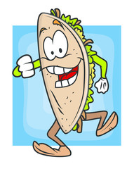 Dancing Cartoon Taco Vector Illustration