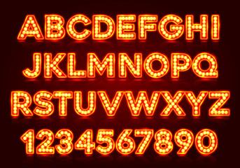 Red fluorescent neon font on dark background. Nightlight alphabet. Vector illustration.