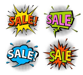 comic book pop art style shopping sale speech bubbles on halftone texture