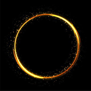 Light sparkling circle on black background. Fire ring glowing trace. Vector fire gold circle.