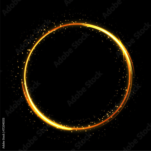 Light Sparkling Circle On Black Background. Fire Ring Glowing Trace. Vector  Fire Gold Circle
