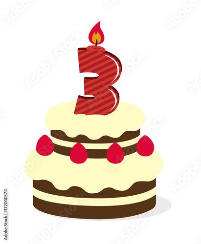 Birthday Cake Illustration 3 Years Old