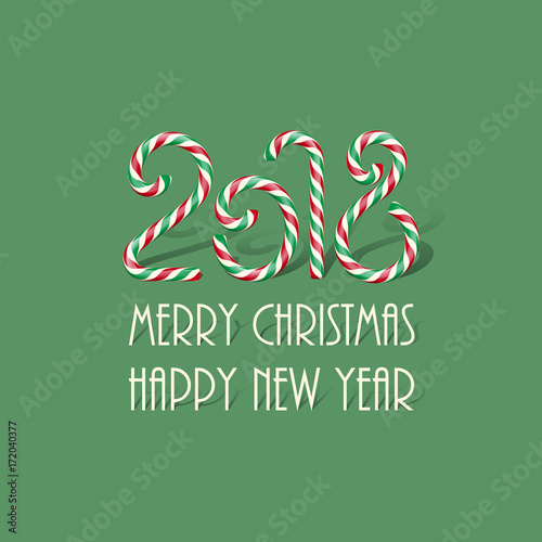 merry christmas and happy new year design template 2018 candy sign