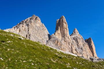 View of Tre Cime from a path between rifugio Auronzo and Rifugio Lavaredo