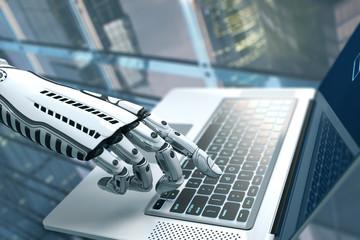 Robot arm futuristic design with keyboard
