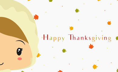 Happy Thanksgiving card design, pilgrim girl character cartoon vector with maple leafs background