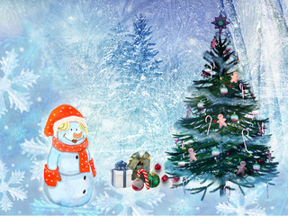 Christmas landscape Snowman with gifts. 3D rendering.