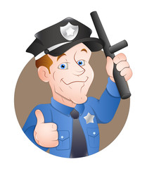 Cartoon Police Character - Clip-art vector illustration