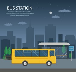 Bus at the bus stop on background of night city. Transport concept of passenger transportation.