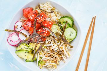 Hawaiian Ahi Poke dish with fish