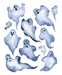 Set of watercolor halloween ghosts with different faces.  Watercolor illustration.