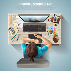 Designer Top View Illustration