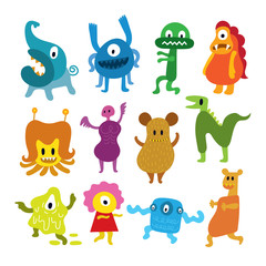 Cute  Monsters Cartoon Characters Set
