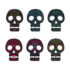 Day of the Dead Skull Set, Black Color with Line Decoration
